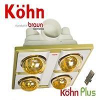 Đèn sưởi nhà tắm Braun Kohn KN04GR - âm trần, 4 bóng, có điều khiển