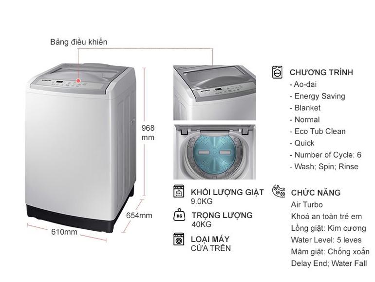 Máy giặt Samsung 9kg WA90M5120SG