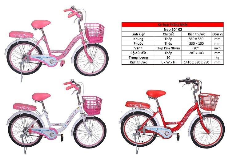 Xe đạp trẻ em Thống Nhất NEO 20 inch cho bé gái 10 tuổi
