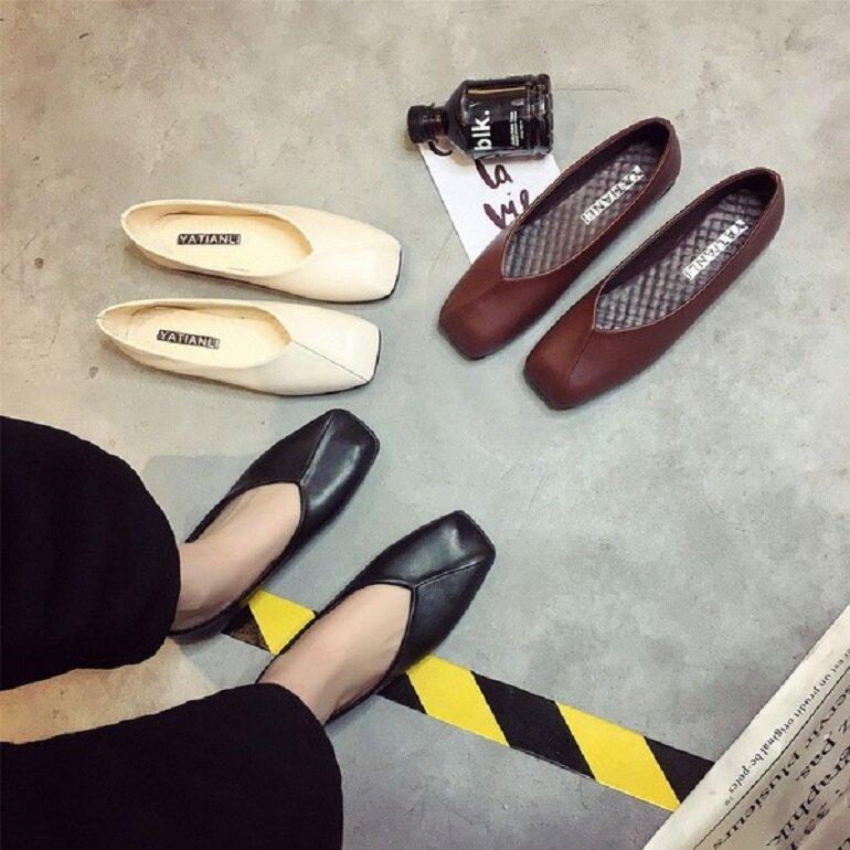 giày búp bê mũi vuông đế bệt