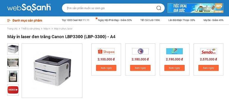 Giá máy in Canon 3300 in 2 mặt bao nhiêu tiền?