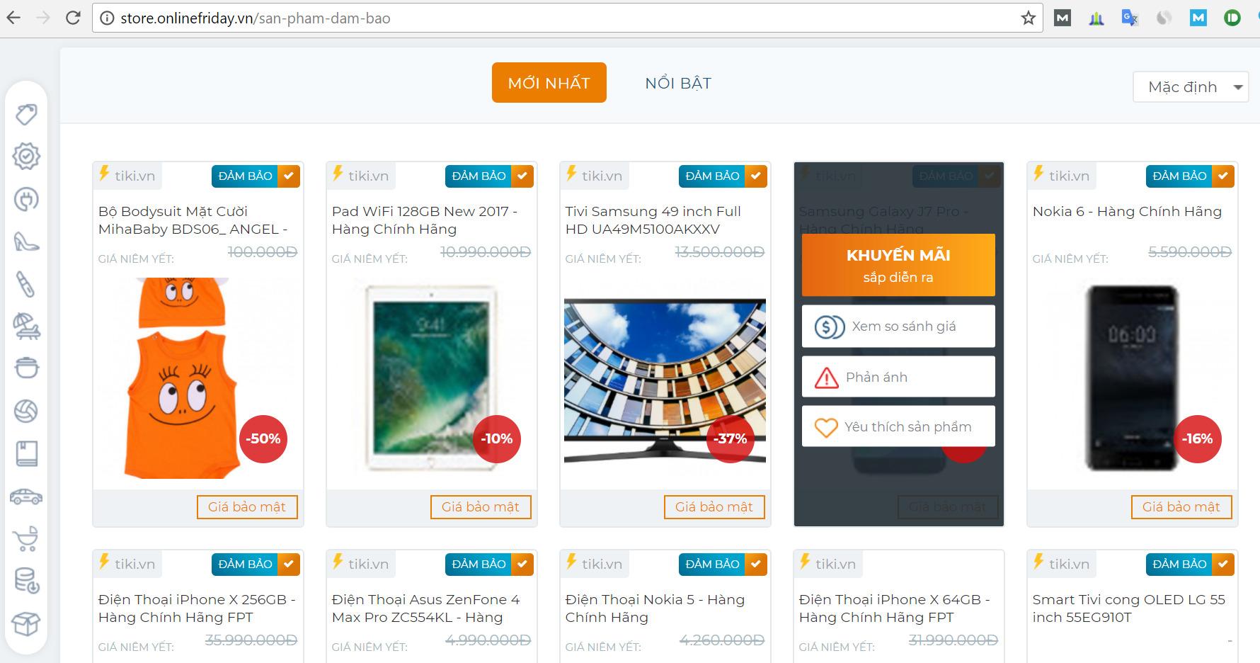 So sánh giá khi mua hàng tại Online Friday 2017