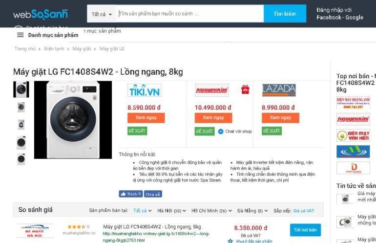 Giá máy giặt lg fc1408s4w2 bao nhiêu tiền ?