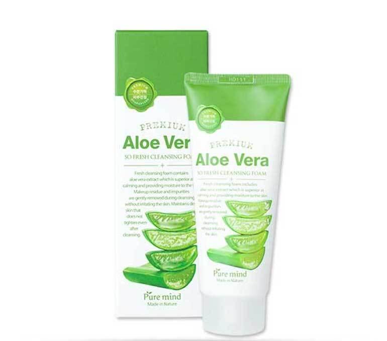 Sữa rửa mặt nha đam Pure Mind Premium Aloe Vera Cleansing Foam