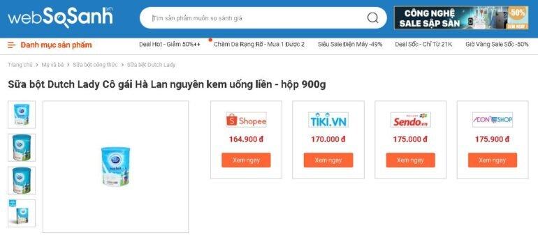 Giá sữa bột nguyên kem Cô Gái Hà Lan bao nhiêu tiền?