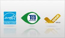 Đáp ứng tiêu chuẩn vàng EPEAT, tiêu chuẩn chất lượng màn hình TCO và tiêu chuẩn chất lượng ENERGY STAR