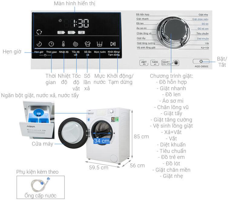 Máy giặt Aqua Inverter 8.5 kg AQD-D850E W - Giá tham khảo: 7.250.000 vnđ