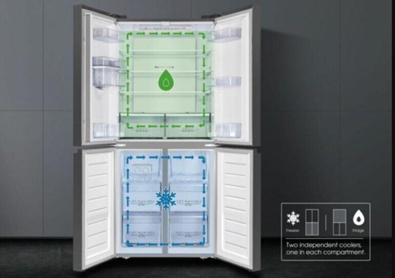 Tủ lạnh Casper inverter RM-680VBW sử dụng công nghệ 2 dàn lạnh độc lập kết hợp cùng khả năng làm lạnh đa chiều