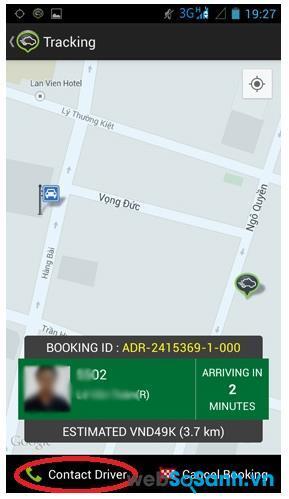 Thông tin về tài xế, vị trí tài xế, số điện thoại tài xế sẽ trực tiếp gửi đến bạn, bạn chỉ cần liên lạc với họ và đi xe