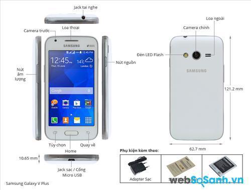 Điện thoại Galaxy V Plus có thiết kế đơn giản với bốn góc bo tròn và mặt lưng cong