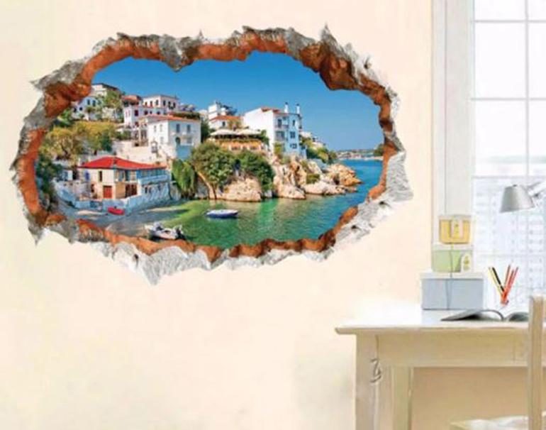 Decan dán tường 3D Địa Trung Hải