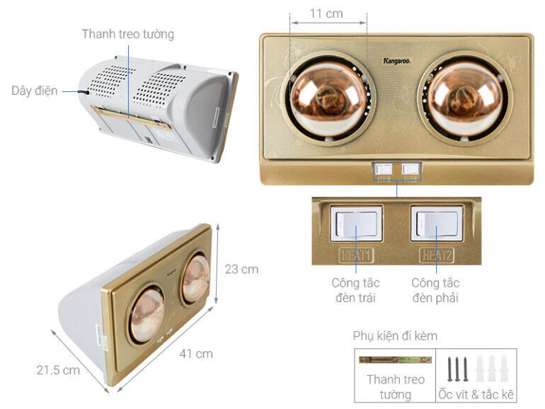 Đèn sưởi nhà tắm Kangaroo KG247V 550W - Giá tham khảo: 620.000 vnđ