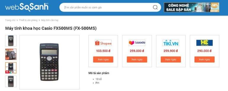 Giá máy tính Casio FX 500MS bao nhiêu tiền?