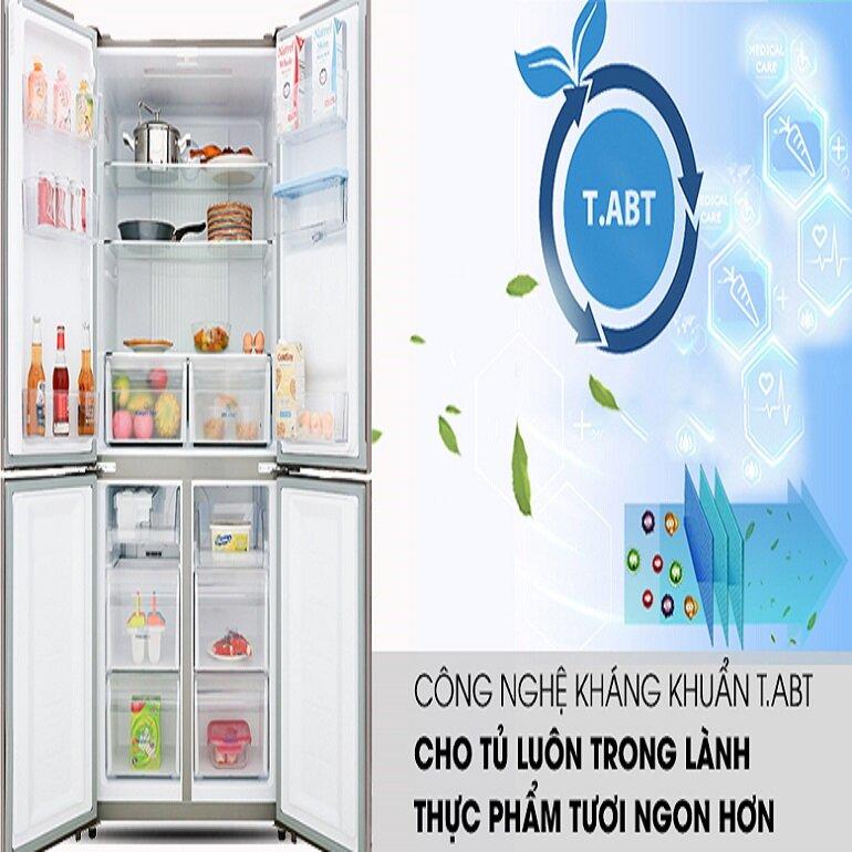 Tủ lạnh 4 cửa 511L AQUA AQR-IGW525EM (GP) Inverter với công nghệ tiệt trùng T.ABT