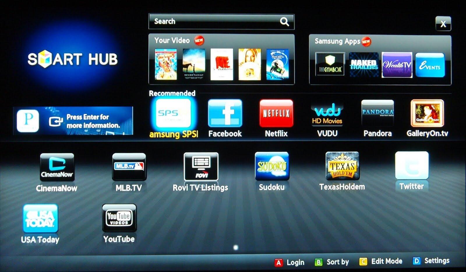 Sau khi khởi chạy Smart Hub hãy chọn các ứng dụng yêu thích