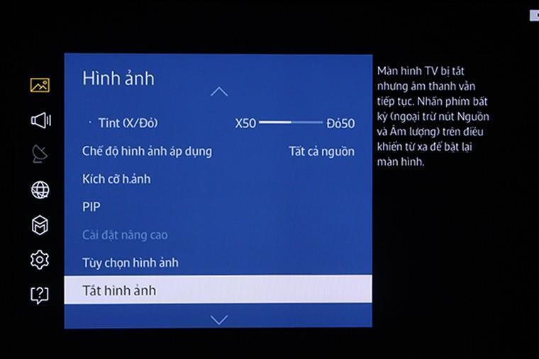 Tắt hình trên Smart tivi Samsung nhưng vẫn nghe tiếng