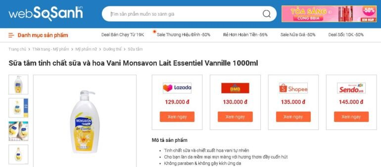Giá sữa tắm Monsavon bao nhiêu tiền?