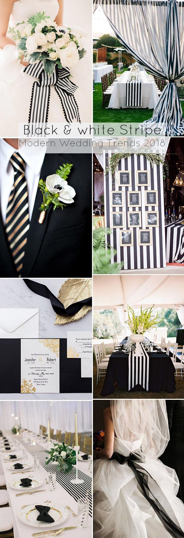Xu hướng trang trí tiệc cưới với sọc đen trắng