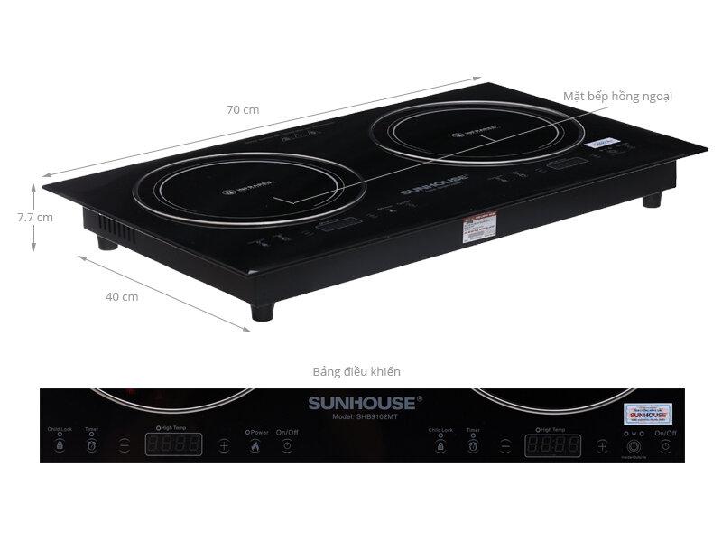 Thiết kế hiện đại của bếp hồng ngoại đôi Sunhouse SHB9102MT