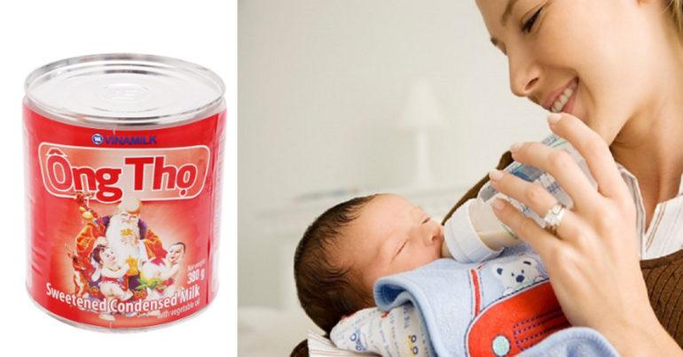 Có nên sử dụng sữa đặc có đường cho trẻ nhỏ dưới 1 tuổi không ?