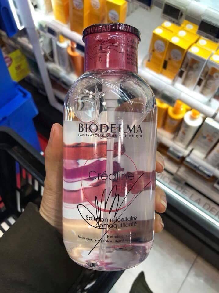 Phiên bản nắp nhún của nước tẩy trang Bioderma hồng dành cho da thường, da khô và da nhạy cảm