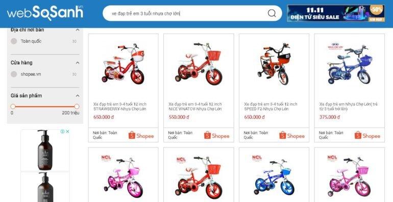 Giá xe đạp trẻ em 3 tuổi Nhựa Chợ Lớn bao nhiêu tiền?