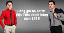 Bảng giá áo sơ mi Việt Tiến chính hãng năm 2018