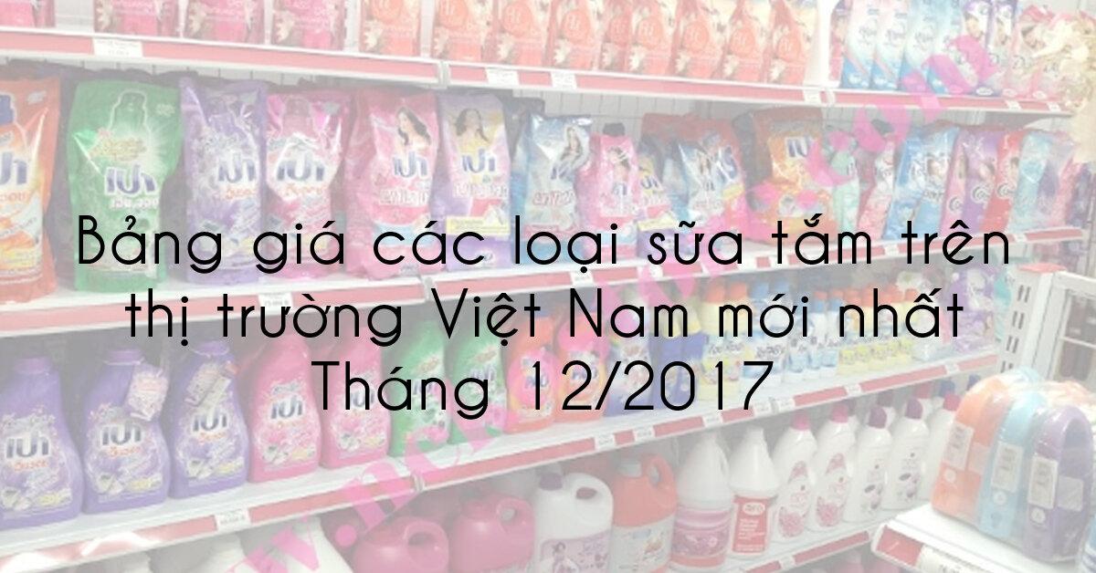 Bảng giá các loại sữa tắm trên thị trường Việt Nam mới nhất tháng 12/2017