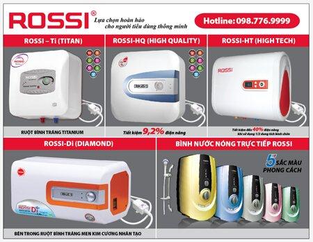 Bảng giá máy nước nóng gián tiếp Rossi Tân Á Đại Thành (tháng 1/2016)