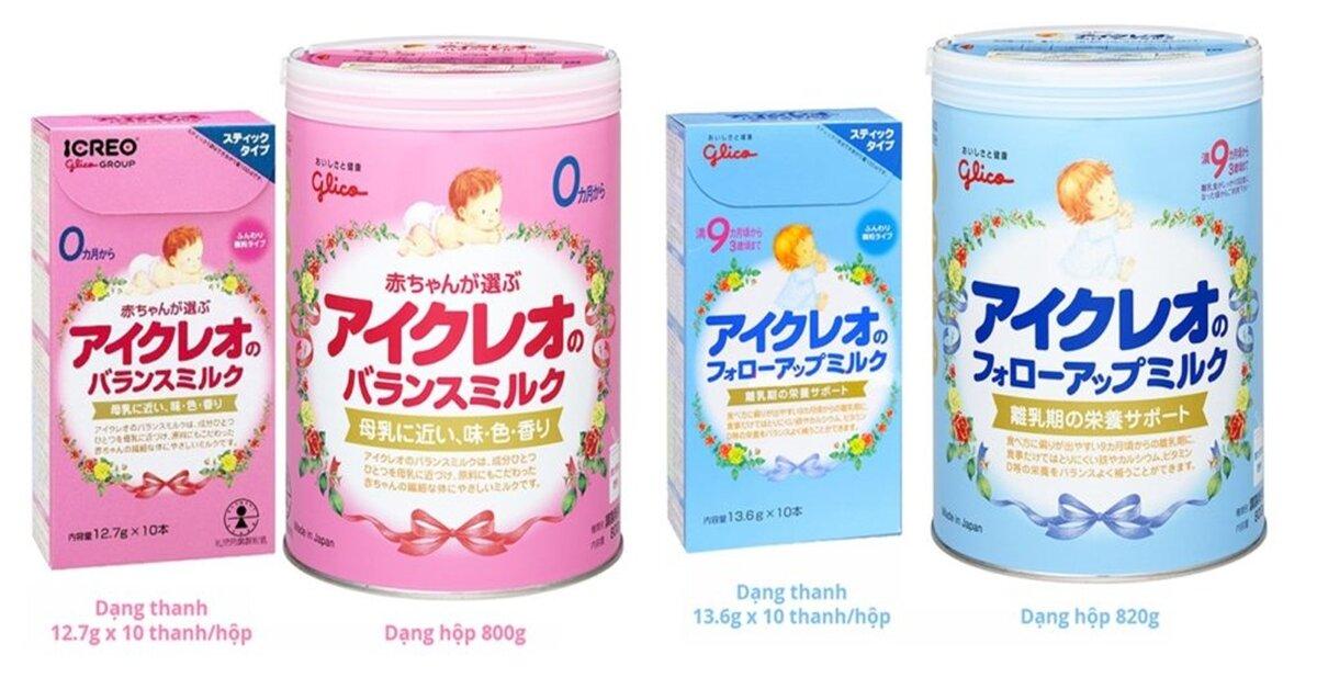 Bảng giá sữa bột Glico Icreo cập nhật tháng 8/2018