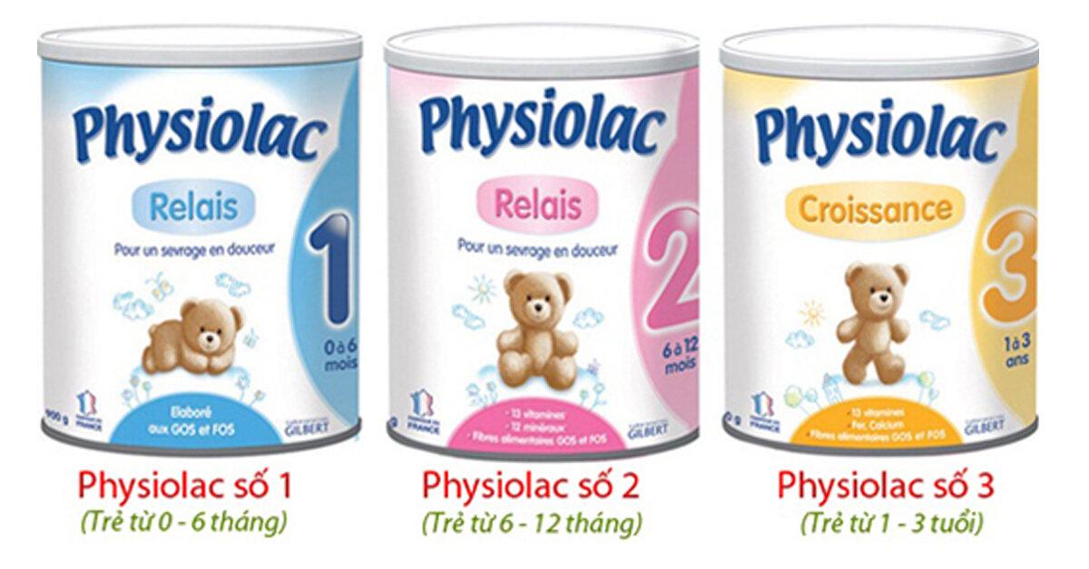 Bảng giá sữa bột Physiolac cập nhật tháng 10/2018