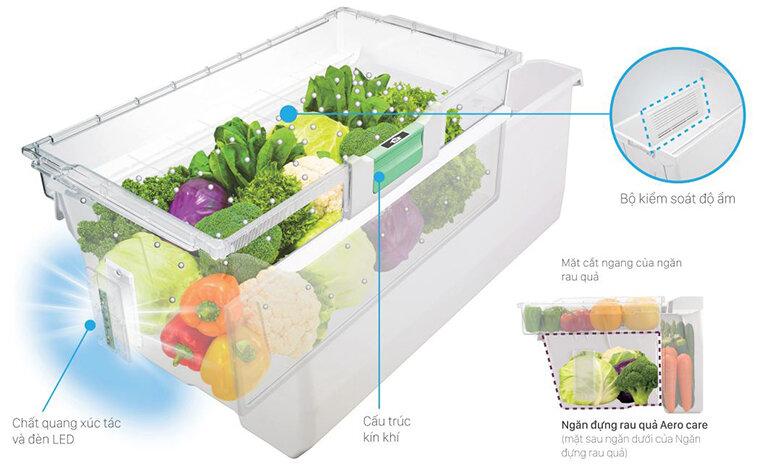 Bảo quan rau củ tươi lâu với ngăn chứa rau củ thông minh Aero-Care trên tủ lạnh Hitachi