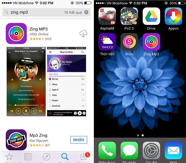 Ứng dụng Zing.mp3 hỗ trợ tải nhạc trên điện thoại iPhone