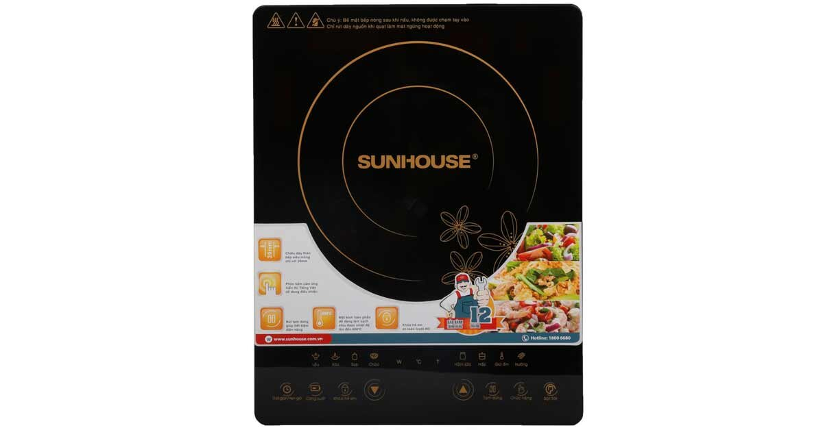 Bếp từ Sunhouse SHD6800 có công suất mạnh mẽ với mặt kính cao cấp