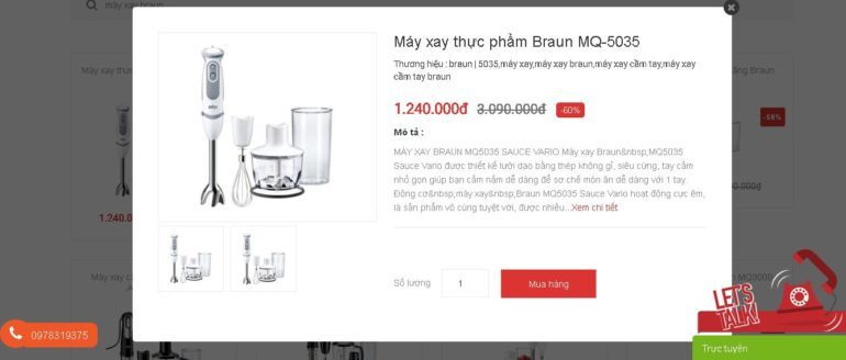 Máy xay thực phẩm Braun MQ-5035 giảm giá 60%