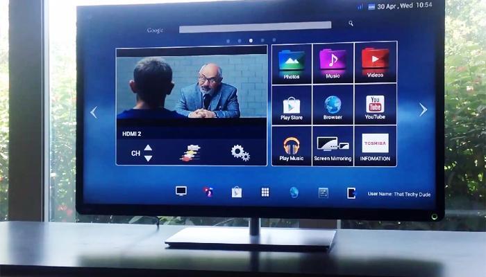 giao diện hệ điều hành android trên tivi toshiba