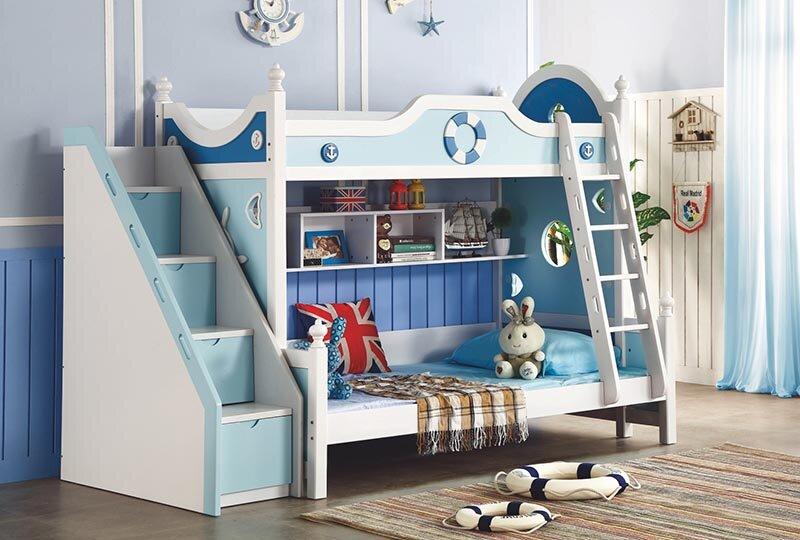 Giường gỗ đơn giản cho bé trai