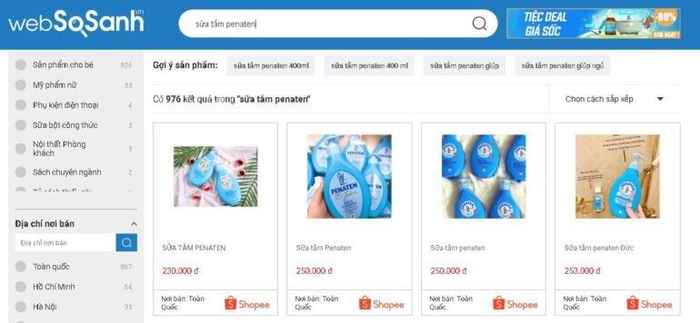 Sữa tắm Penaten giá bao nhiêu tiền?
