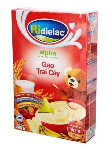 Bột ngũ cốc gạo trái cây Ridielac Alpha (200g) – Bé ăn dặm ngon hơn, khỏe hơn