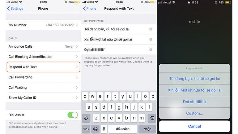Mẹo tạo tin nhắn trả lời khi bạn không thể nghe máy trên điện thoại iPhone