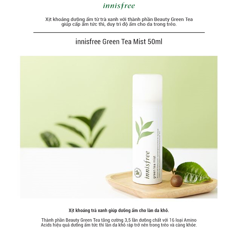 So sánh xịt khoáng trà xanh Innisfree và Xịt khoáng lô hội Aloe Revital Skin Mist