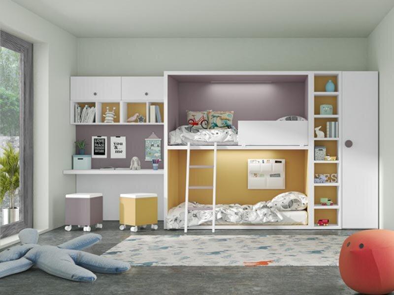 Giường tầng kết hợp quần áo trẻ em