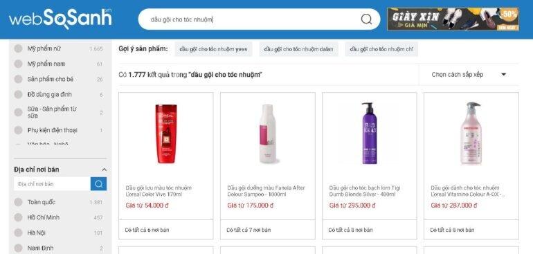 Nên sử dụng cổng thông tin so sánh giá Websosanh.vn để lên danh sách các loại dầu gội cho tóc nhuộm.