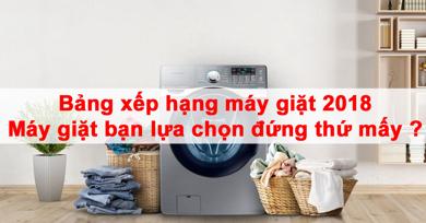 Bảng xếp hạng máy giặt 2018 – Máy giặt bạn lựa chọn đứng thứ mấy ?