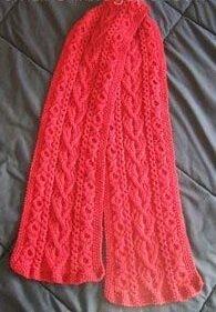 Cách đan khăn len vặn thừng trái tim