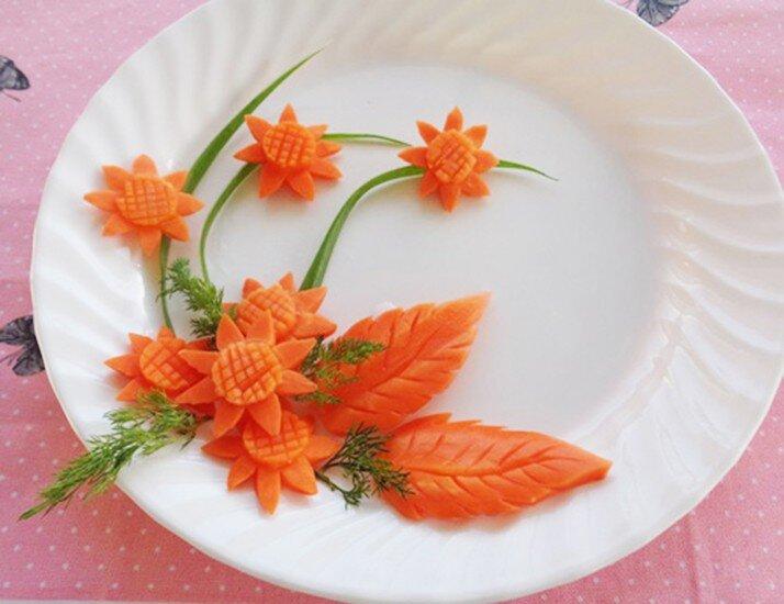 Cách dùng cà rốt để trang trí món ăn hấp dẫn hơn