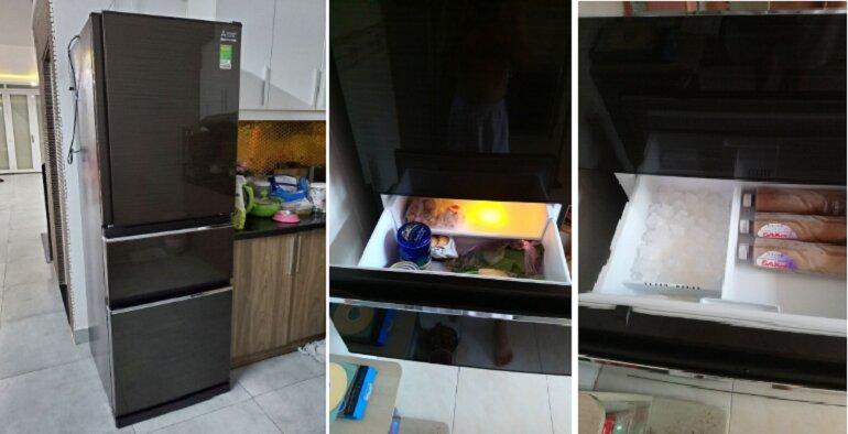 Tủ lạnh ngăn đông mềm Mitsubishi MR-CX41EJ-BRW 3 cửa 326L - Giá tham khảo khoảng 13 triệu vnđ/ chiếc