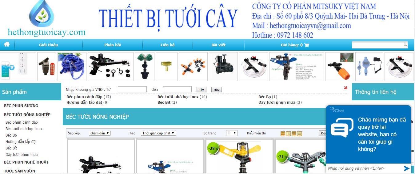 CÔNG TY CỔ PHẦN Mitsuky Việt Nam – chuyên cung cấp thiết bị tưới cây, đầu phun, bec phun nghệ thuật, đầu phun sương