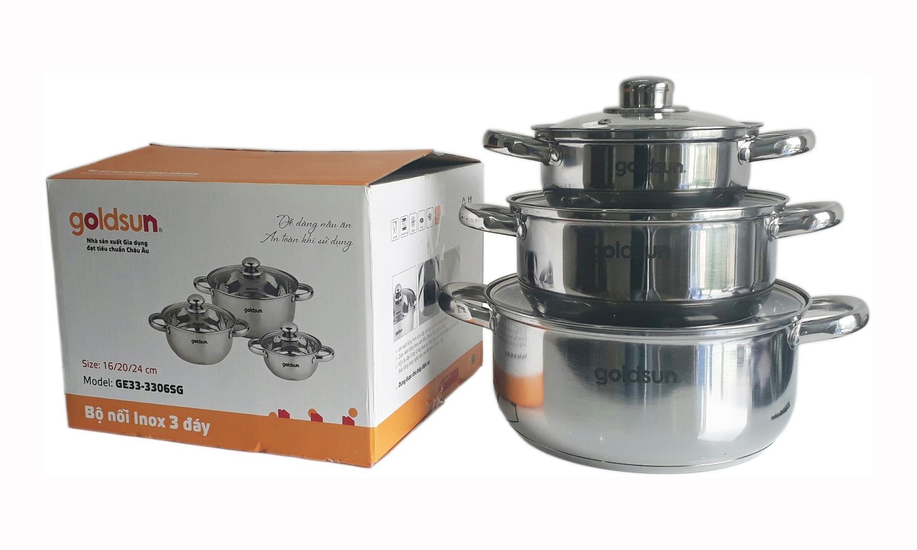 Bộ nồi inox dùng bếp từ Goldsun GE35-3306SG sáng bóng sạch sẽ