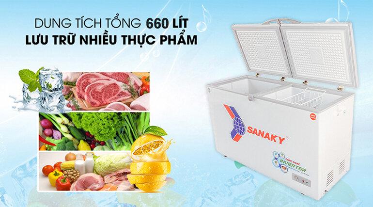Tủ đông inverter Sanaky 660 lít VH-6699W3